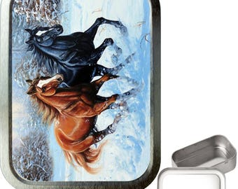 Horse snow 2oz silver tobacco tin,pill box,storage tin,keepsake