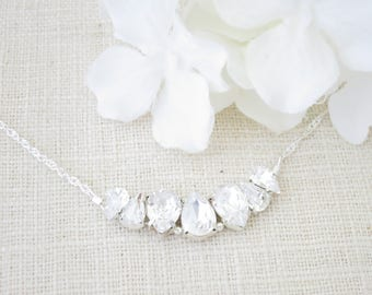 Crystal bridal necklace, Simple crystal necklace, Swarovski rhinestone necklace, Teardrop bridal necklace, Bridesmaid necklace, Gift for her