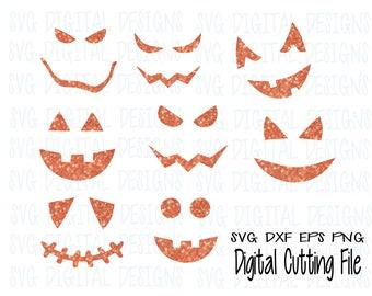 Pumpkin Face Svg cut file, Halloween jack o lantern SVG Digital Design Cutting files Silhouette, Cricut, Scal Svg Png Dxf Eps Vinyl file