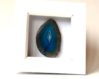 Handmade Blue Agate Crystal Stone Slice in White Box Frame (10.5 cm)