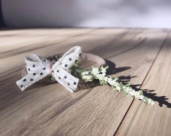 Flower bow headband, spring headband, boho headband, polkadot headband, spring flower headband, simple flower crown, partial flower crown,
