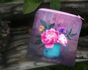 Jolie pochette en tissu, petite trousse fleurie, pivoines aquarelle tissu, cadeau pour elle, petite pochette maquillage, rangement pour sac
