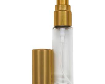 SIX (6) - 8ml Glass Spray Bottle with Gold Spray Top