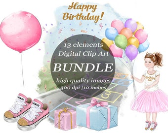 Happy Birthday Watercolor Girl Clipart Bundle Pink & Gold Clip Art Hopscotch Balloon Gifts Summertime Park Party  Digital Craft Scrapbook