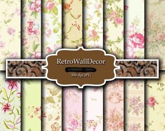 30%OFF Floral Digital Paper , Vintage Floral Backgrounds , Vintage Roses Decoupage Digital , Wedding Flowers Papers 8.5x11 in Buy 2 Get 1 FR