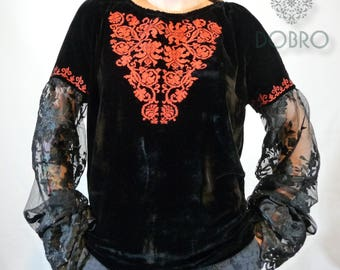 DOBRO velvet vyshyvanka ukrainian embroidered blouse bohemian ethnic shirt boho chic peasant top