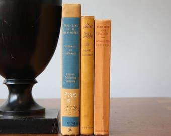 Orange Books, Vintage Books, Antique Books, Vintage Collection, Book Décor, Wedding Decor, Home Decor, Centerpiece, Office Décor, Book set