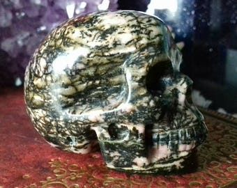 Rhodonite Hand Carved Crystal Skull - Crystal Healing, Rhodonite Skull, Crystal Carving, Crystal Skull, Skull Carving, Crystal Energy  RH3