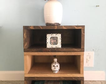 Stacked Box Shelf (Storage Shelving, stacked boxes, small spaces furniture, shelves, storage shelf, nightstand, shelfs, wood shelf)
