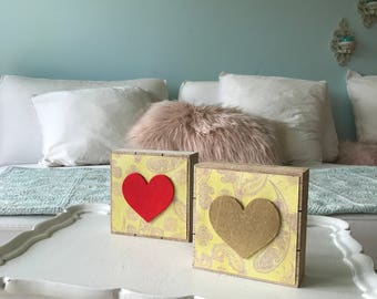 red heart/ golden heart wood blocks decorations ( pick gold or red)