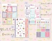 Personal Planner Sticker Kit - Glitter Fairies - Planner Stickers, Mini Happy Planner Kikki.K, Filofax, etc