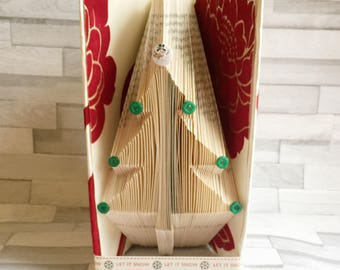 Festive tree book fold, christmas tree, red, snowman, let it snow, decoration, decorative, seasonal, winter