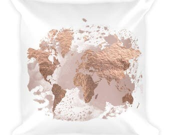 Travel Decor, Throw Pillow, Square Pillow, Travel Throw Pillow, Travel Gift, World Map Pillow, Map Decor, World Map, Home Decor, Nursery