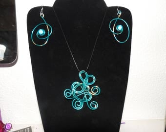 Ornament pendant and earrings sky blue