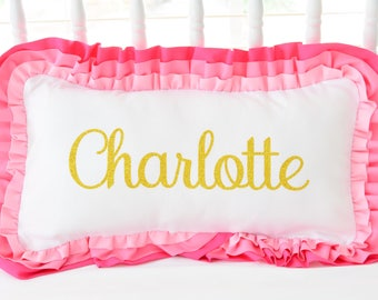 Custom Personalized Gold Letter Name Pillow - Any color