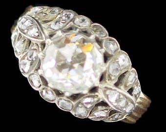 Antique Victorian Diamond Ring Engagement Wedding Ring Rose Gold Silver (#6249)