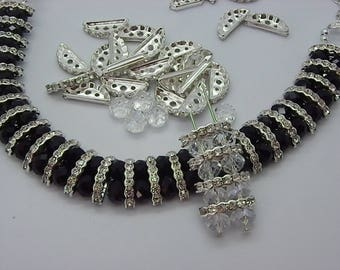 15 brass spacer beads with white Crystal