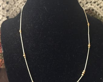 Vintage Silvertone Necklace with Goldtone Beads, Length 18''
