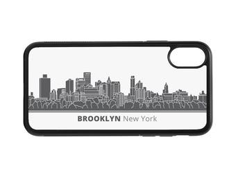 Brooklyn New York Skyline Personalized Phone Case - iPhone X 8 7 6 Plus, 5 5c SE, Galaxy S8 S8 Plus S7 S6 Edge S5, rubber cover, NY