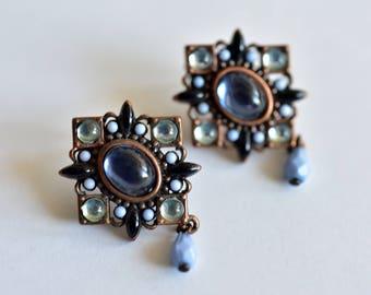 Vintage,Blue Glass, Cabochon, Copper, Earrings,  Avon SP,Vintage Avon,Avon Earrings