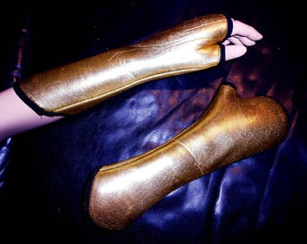 Burlesque burlesque hand warmers of 3mm genuine neoprene GOLD fetish Tabledance sexy glove wrist warmers elastic closely lying on GR S unique new