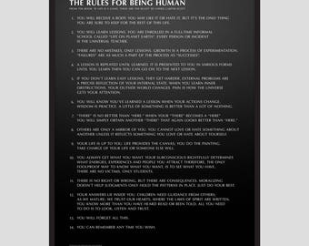 Word Series: The Rules for being Human Poster / Home decor prints, Inspirational quotes, quote poster, typography poster