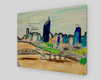 "20""x16"" - Wood Print - Brisbane City Series 002"