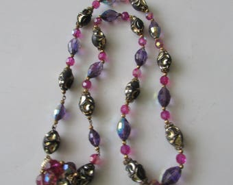 Vintage Purple Pink Crystal Bead Necklace