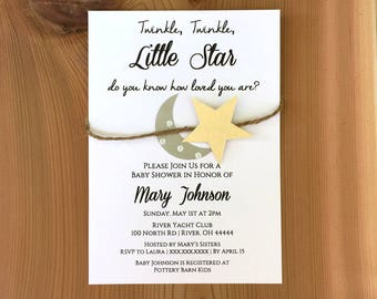 Twinkle Twinkle Little Star Baby Shower Invite | Moon and Stars Baby Shower Invitation | Gold and Silver Baby Shower Invites |Gender Neutral