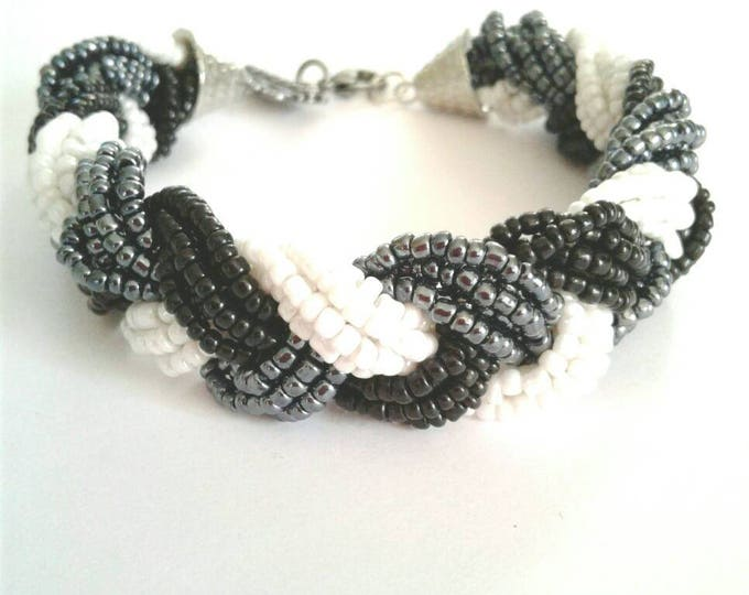 Glass Seed Bead Cluster Bracelet, Multi Beaded Bracelet, Black, White, Grey Bead, Statement Piece, Gift For Her, BeadWork, Classic Style,Fun