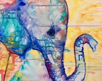 Rainbow Elephant Painting