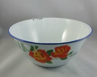 Vintage Enamel Mixing Bowl, Made In China Enamelware, Vintage Fruit Pattern Enamel Bowl, Country Kitchen, Farmhouse Decor
