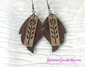 Leaf and Flower Leather Earrings