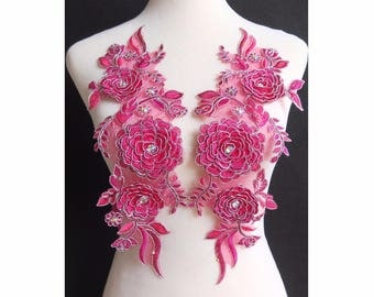 1mirror pair=2pc x 3D Handmade Fuchsia Pink Flower Embroidery Beaded Lace Appliques Trim Patch BNC130E