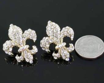 Fleur De Lis Rhinestone Earrings Gold/Clear
