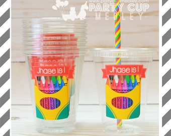 Crayon Birthday Party Cups, Lids & Straws or Favor Cups with Dome Lids