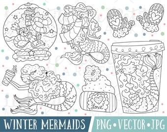 Cute Mermaid Clipart Images, Cute Mermaid Digital Stamps, Pretty Mermaid Clipart, Winter Mermaids, Mermaids with Coffee Clipart, Valentine