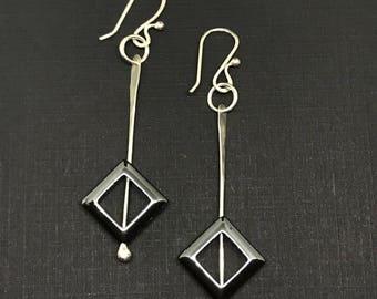 Dangle Hematite Drop Earrings