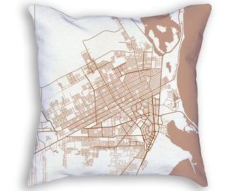 Cancun Mexico City Street Map Throw Pillow