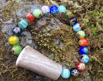 Elk Antler Bead & Flower Stretchy Bracelet.