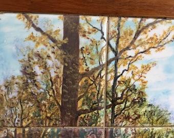 Vintage Framed Hand Painted Tile Picture Landscape