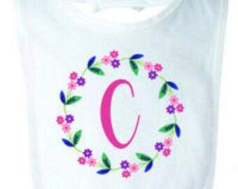 Caroline Flower Frame Initial Bib