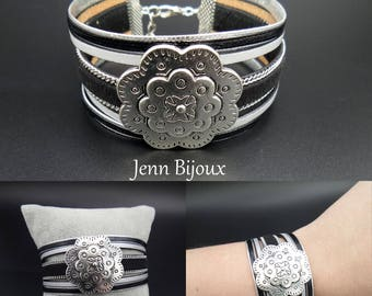 Cuff Bracelet leather and silver tone and black leather suede with chain, flat leather, big width bead