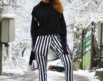 Black And White Pants, Extravagant Plus Size Pants, Tapered Striped Trousers, Casual Drop Crotch Pants by SSDfashion
