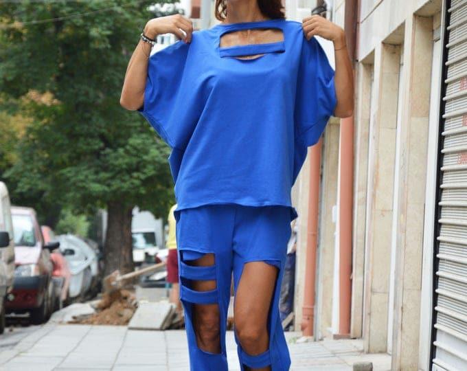 Extravagant Loose Blue Sweatshirt, Casual Sport Blouse, Asymmetrical Wadding Sweatshirt by SSDfashion
