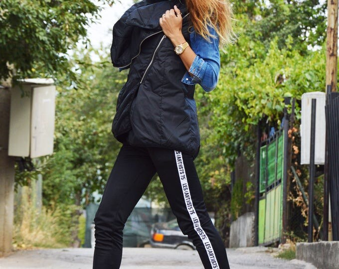 Womens Black Maxi Coat, Black Sleeveless Vest With Zippers, Waterproof Windproof Coat, Extravagant Vest by SSDfashion