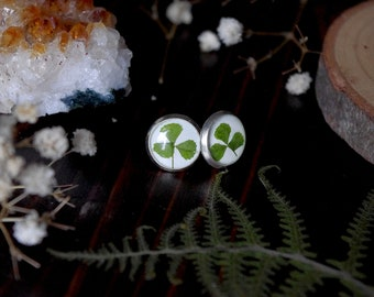 Clover jewelry earrings flower earrings clover irish jewelry resin earrings resin jewelry stud earrings green earrings nature earrings gift