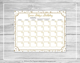 White and Gold Baby Shower Guess Baby's Birthday - Printable Baby Shower Guess Baby's Birthday Game - White and Gold Baby Shower - SP149