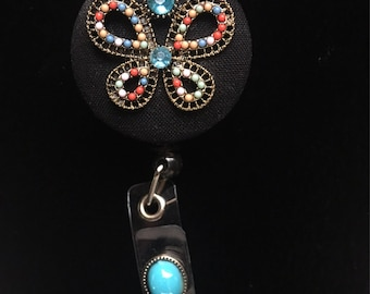 Beaded Butterfly -Nurse Retractable ID Badge Reel/ RN Badge Holder/Doctor Badge Reel/Nurse Badge Holder/Nursing Student Gifts