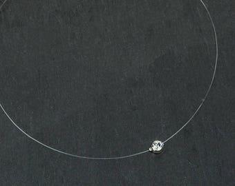 ANGELA bridal necklace with a Swarovski crystal clear rhinestone